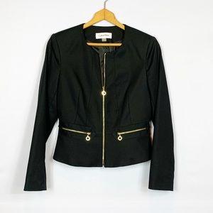 Calvin Klein Black & Gold Peplum Style Blazer